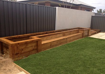 Les Mableu0027s Raised Beds With Bench Seats From New Railway Sleepers |  Mountain Home | Pinterest | Railway Sleepers, Raised Bed And Bench Seat
