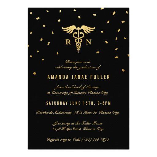 Nursing Graduation Invitations Gold Black Pinterest Nursing