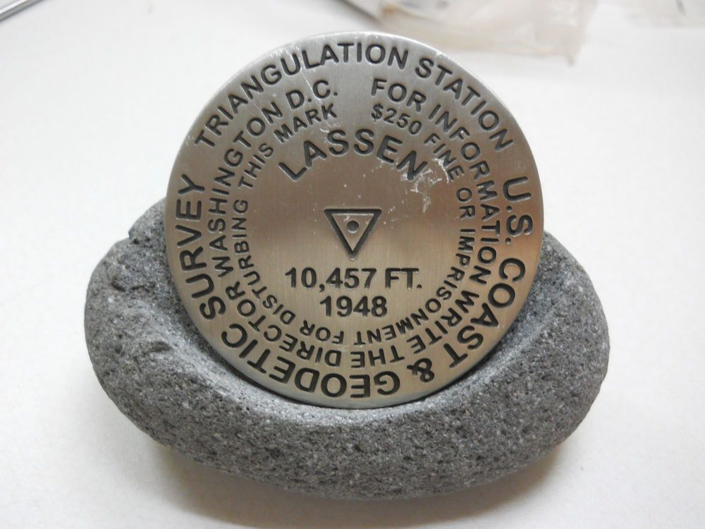 US Coast & Geodetic Survey Marker. Estate Sale Find. 3-1/8 inches W/Stone