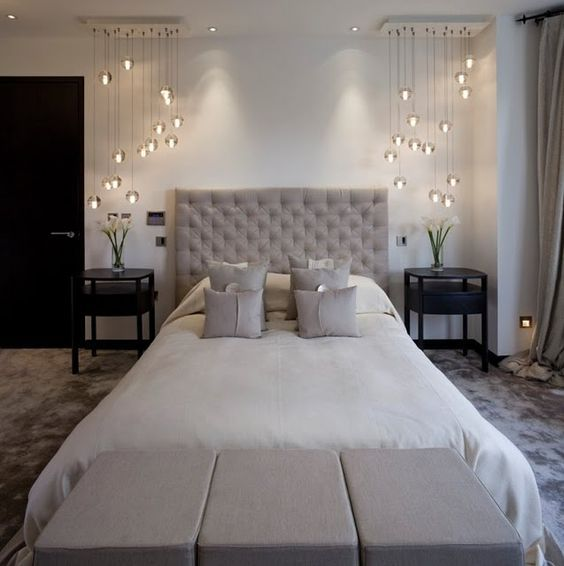 Elegant Master Bedroom With Statement Lighting Elegant Bedroom Home Bedroom Design