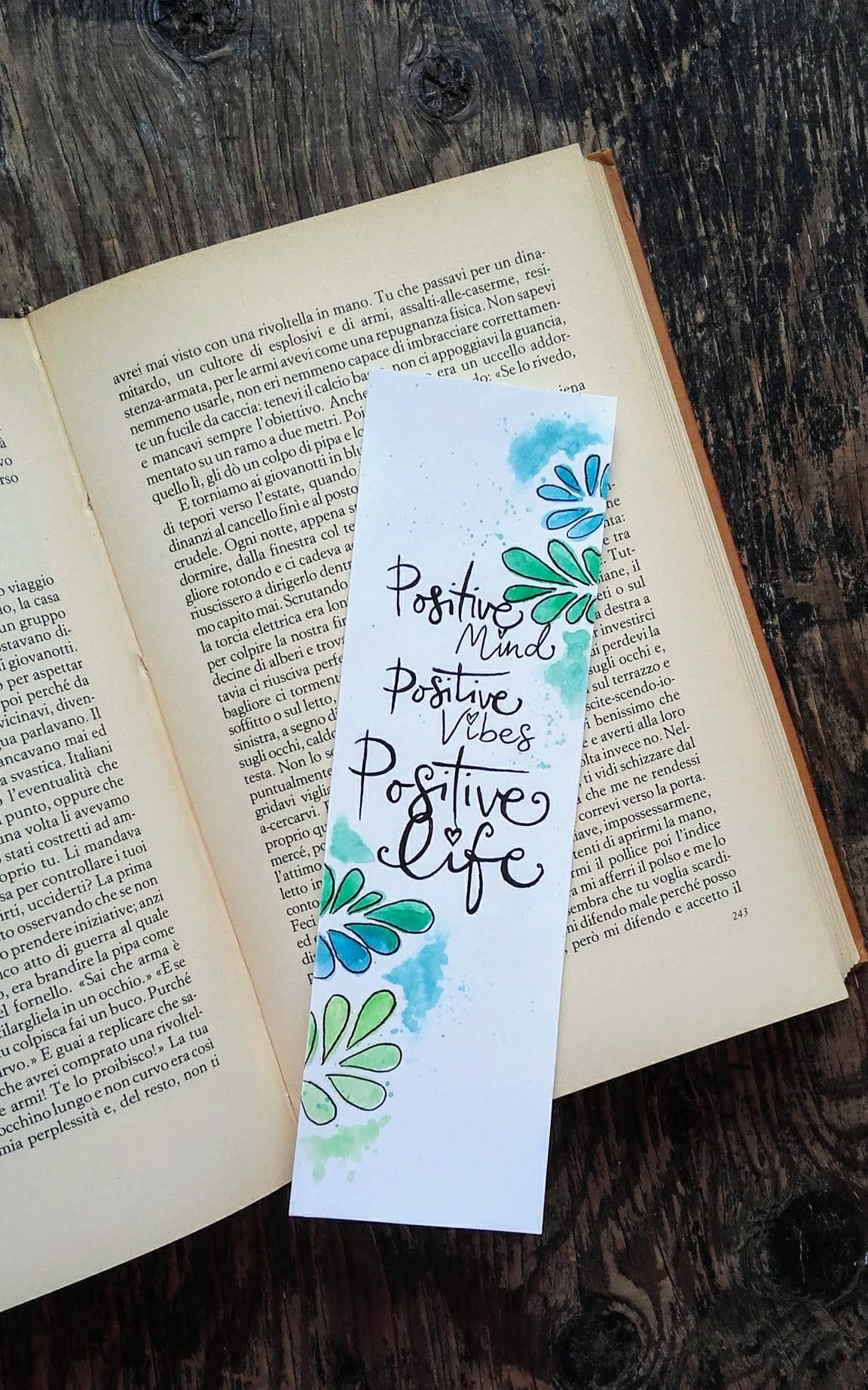 Handmade greeny bookmark with abstract leafs in watercolor