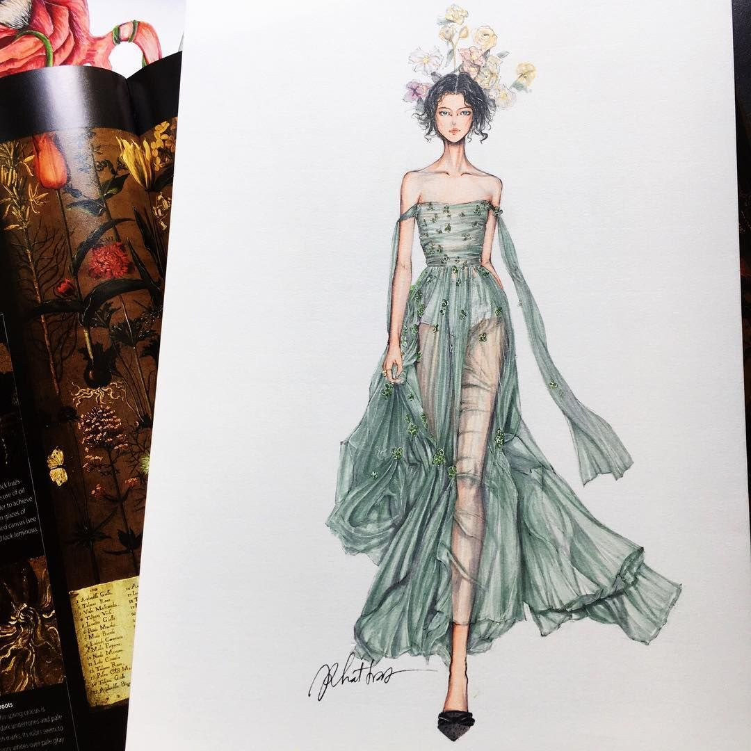 Eris Tran Watercolor Illustration Of Christian Dior Haute Couture Spring Summer Fashion Illustration Dresses Dress Illustration Illustration Fashion Design