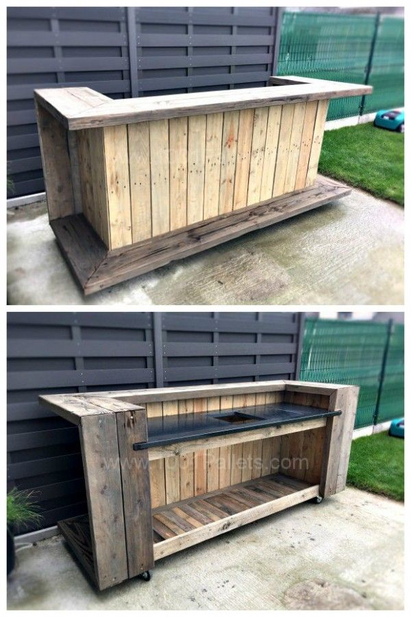 pallet outdoor bar pinteres. Black Bedroom Furniture Sets. Home Design Ideas