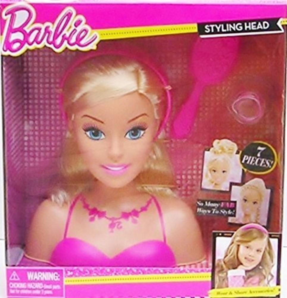 Barbie 7 Piece Styling Head Hair Styling Toy Blonde Barbie In Pink Dress Barbie Styling Head Kids Pretend Play Toys Barbie