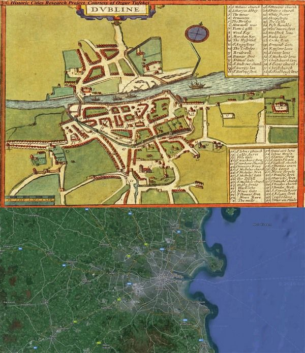 #Dublin, #Ireland #Map: Then(1617) And Now(2016