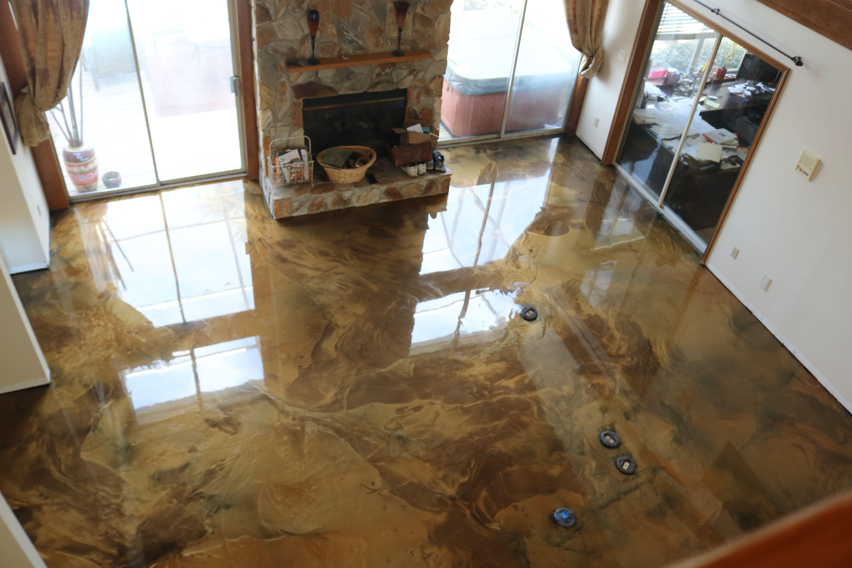 Goodbye Carpet Hello Metallic Epoxy Floor We Used Purepoxy Moisture Vapor Barrier Purepoxy Pe 100 Epoxy Shipwreck Metallic Epoxy Floor Epoxy Floor Flooring