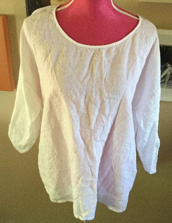 9017ff346 Eileen Fisher Sz M White Linen Gauze Peasant Blouse Tunic Spring Summer |  eBay