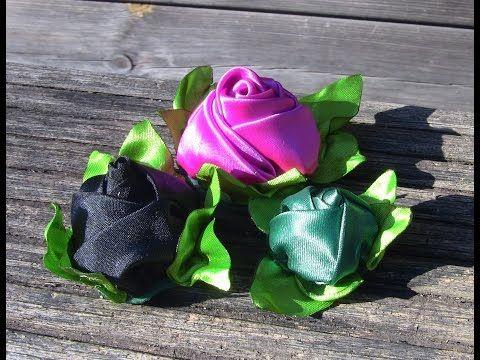 Como fazer botões de Rosas de cetim -RIBBON ROSES- fabric flowers - - YouTube