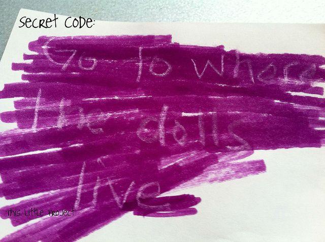 Secret code (white crayon, revealed by marker) for Webelos