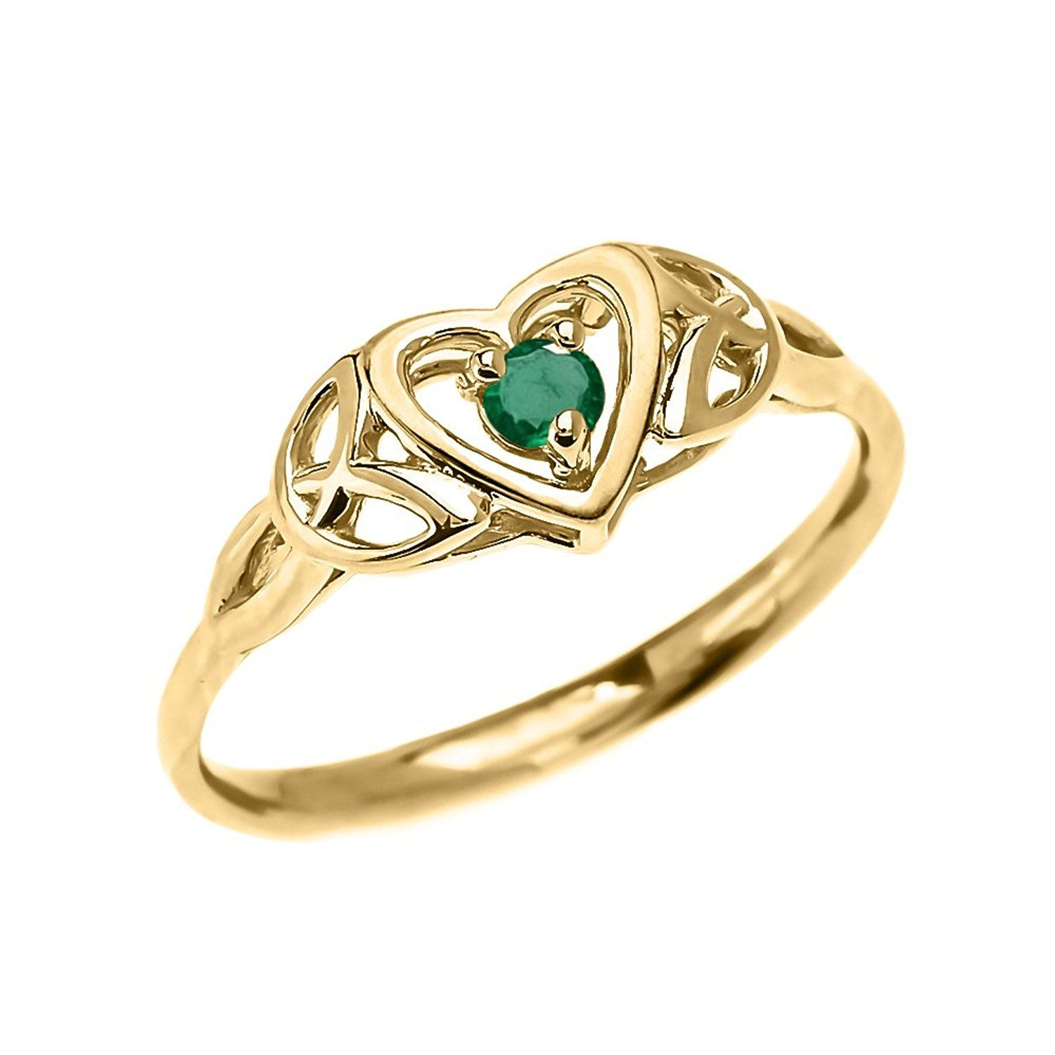 Dainty 10k Yellow Gold Trinity Knot Heart Solitaire Emerald