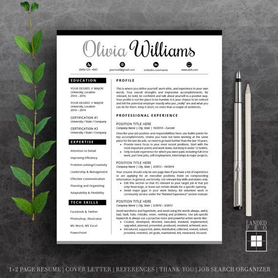 Resume Template \ Cover Letter Template Professional Modern - resume templates for mac word