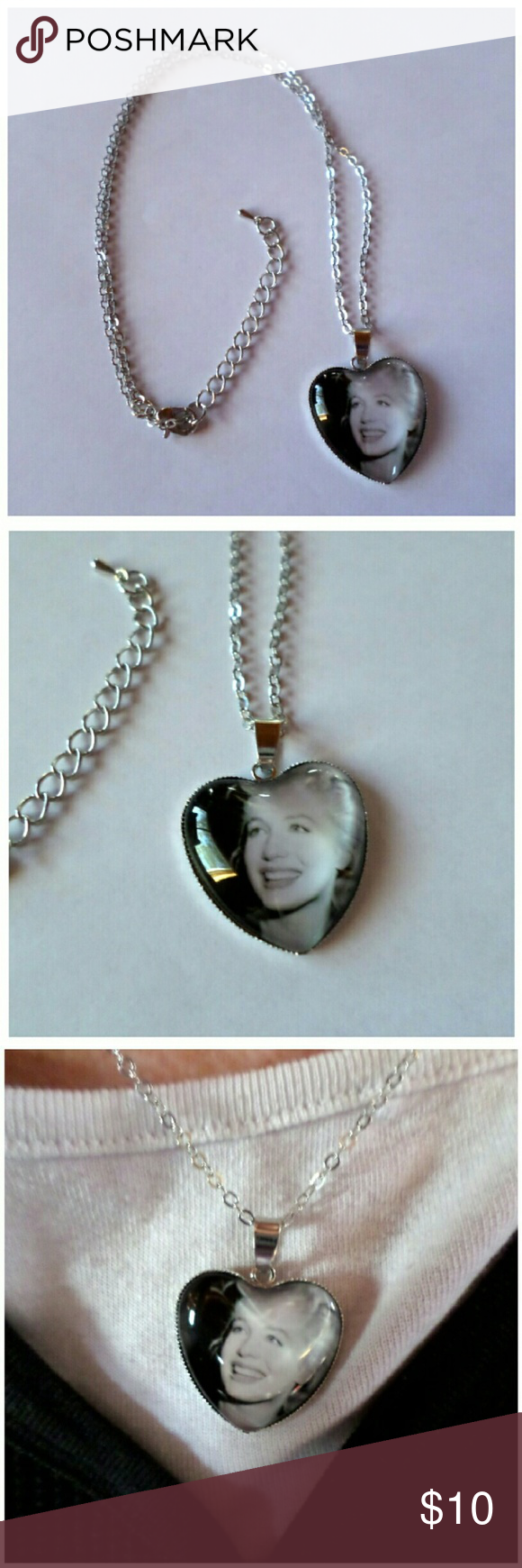 """Marilyn Monroe Silver Necklace Pendant measures 1.5 x 1""""  Chain measures 17 - 19""""   Color: Silver  Material: Alloy, Glass, Photo  New without tags.  Price is firm unless bundled boutique  Jewelry Necklaces"""