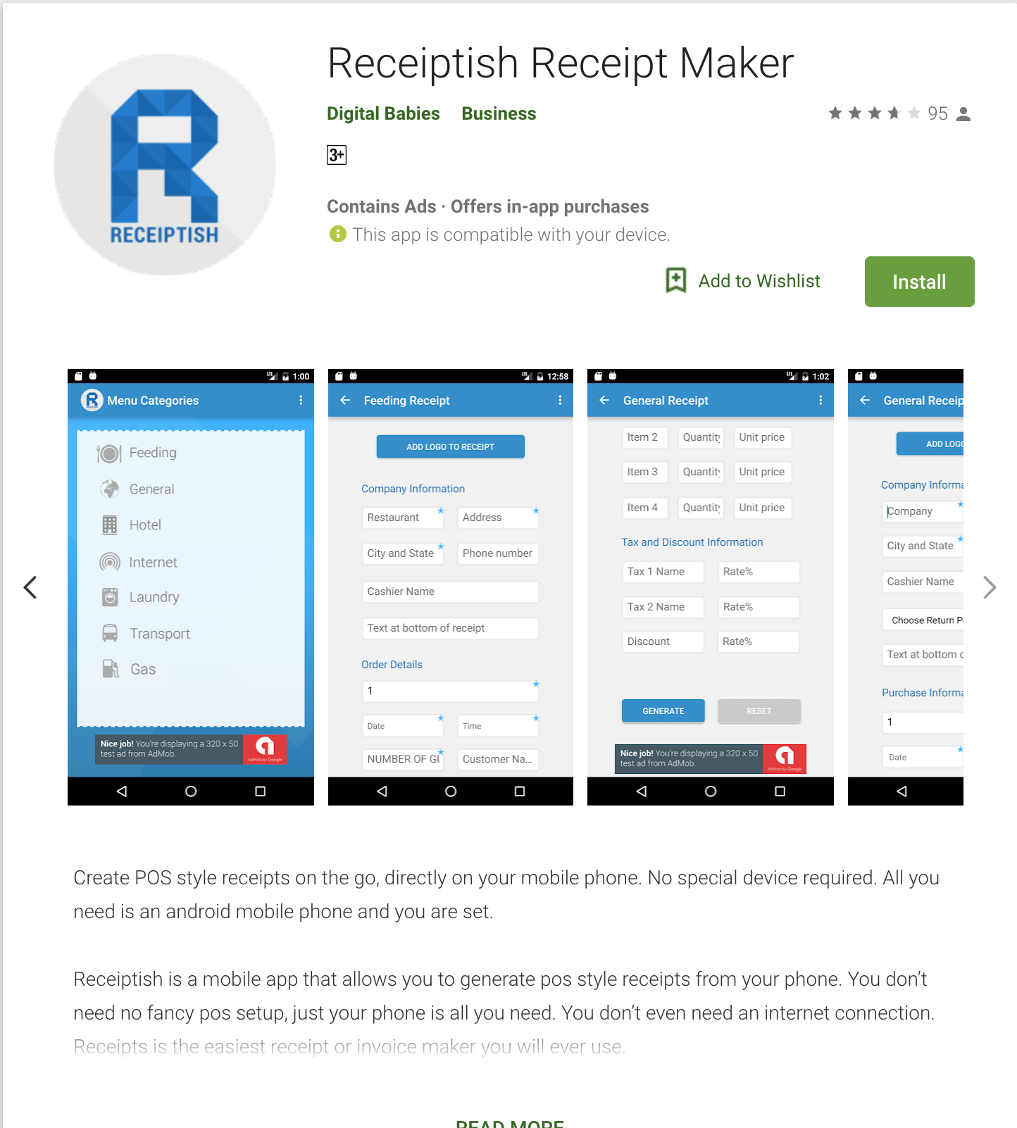 Make Receipts On Your Mobile Phone Receipt Maker App Small Business Management