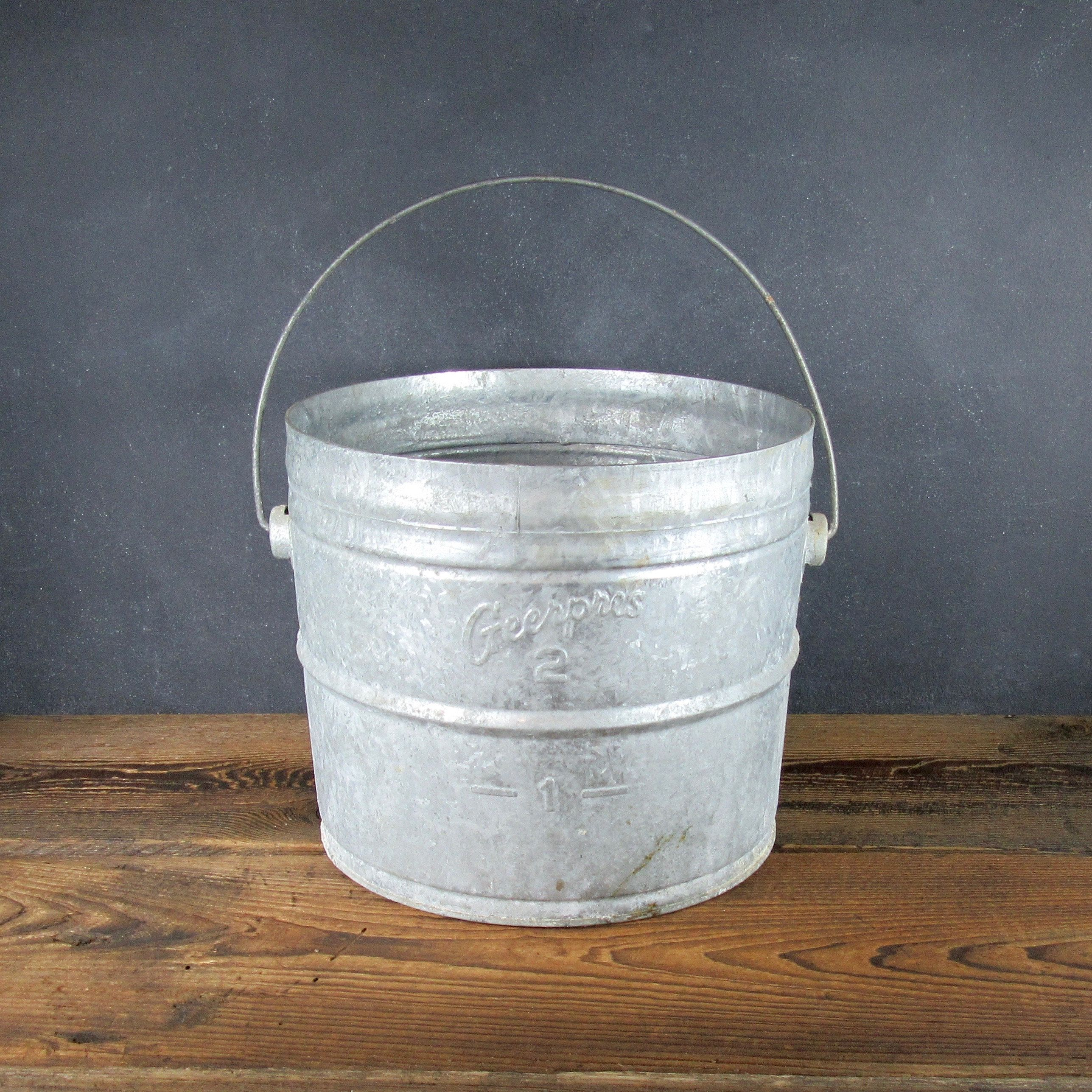 Vintage Galvanized Bucket Geerpres Industrial Pail 2 Gallon Metal Bucket Milk Pail Mop Bucket Rustic Decor Farmhouse Decor Galvanized Buckets Milk Pail Metal Bucket