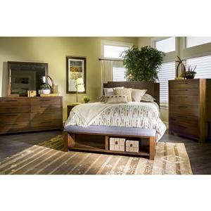 Terra Vista Queen Panel Bed with Upholstered Bench Footboard in Casual Walnut   Nebraska Furniture Mart