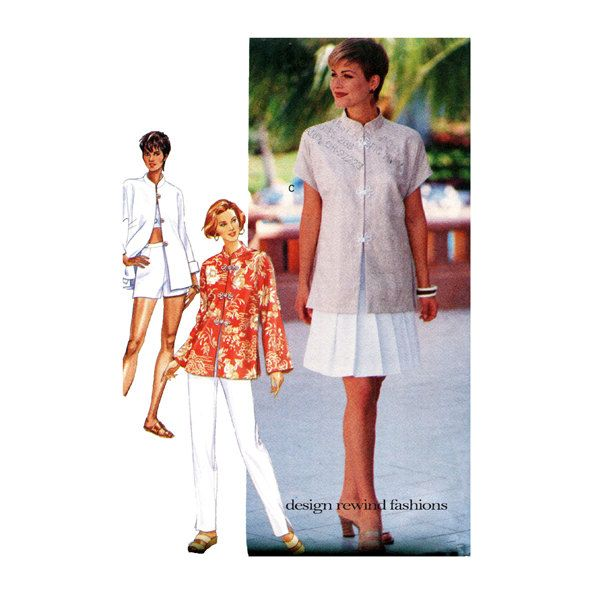WOMENS TUNIC TOP SKiRT & Pants Wardrobe Pattern Mandarin Collar ...