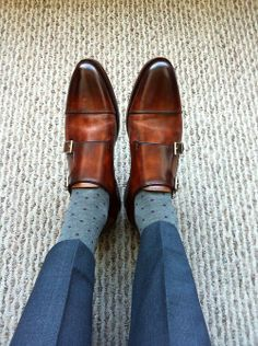 Handsomely burnished leather. Sleek, Euro-inspired shoe topped by a classic double monk strap. Want!