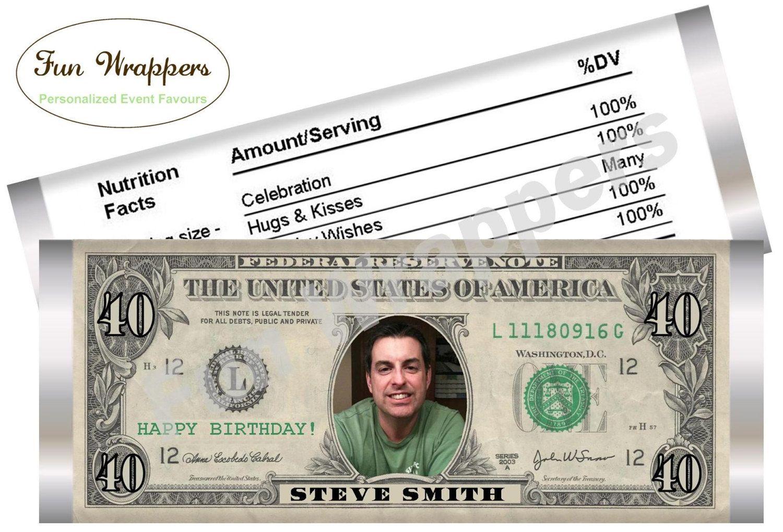 Dollar Bill Candy Bar Wrapper