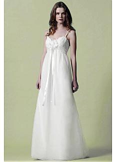 Pretty Over Lace & Organza & Satin A-line Spaghetti Straps Empire Waist Beaded 2013 Wedding Dress #Dressilyme