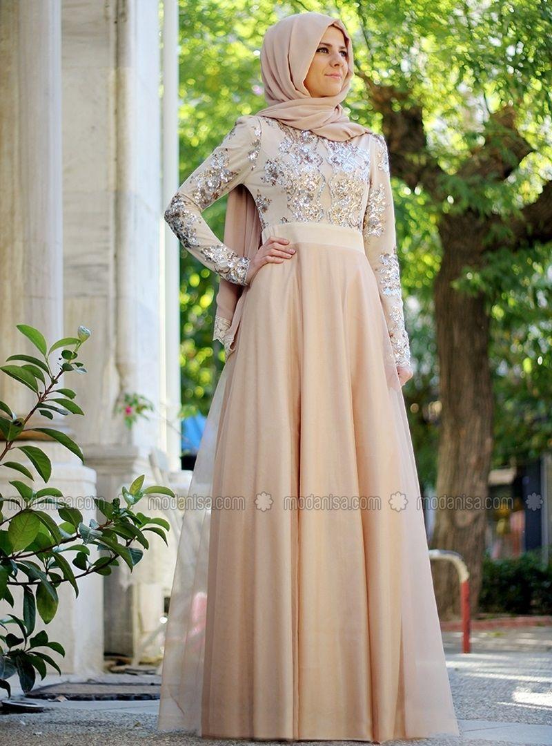 Sequined evening dress caramel agonya moda hijab fashion