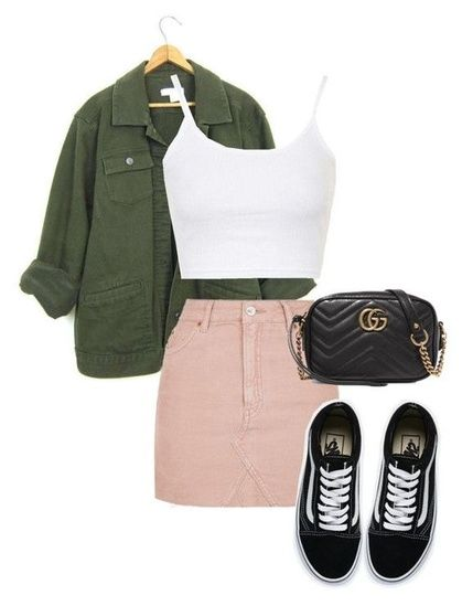 SHOP THE LOOK   casual spring look   pink denim skirt   military jacket  sneaker and skirt look shopthelook is part of Outfits -
