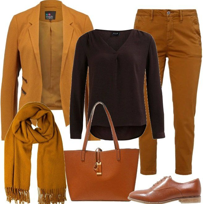... su Outfit donna di Bantoa. Tag. Curry · Calde tonalità per la giacca e  i pantaloni da abbinare ad una camicia marrone 0778271794b