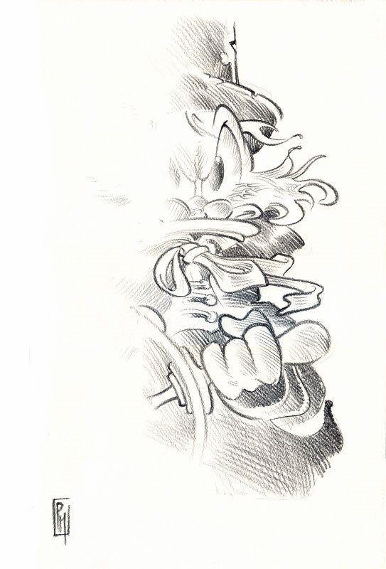"""Dedicatoria de Topolino #3003 en Whakoom. Litografía firmada que originalmente pertenecía al portafolio """"Tempera & Matite"""" (500 ejemplares sin numerar ni firmar) que contenía ésta y otras 11 láminas. 1995. 24x34,5cm  Giorgio Cavazzano"""