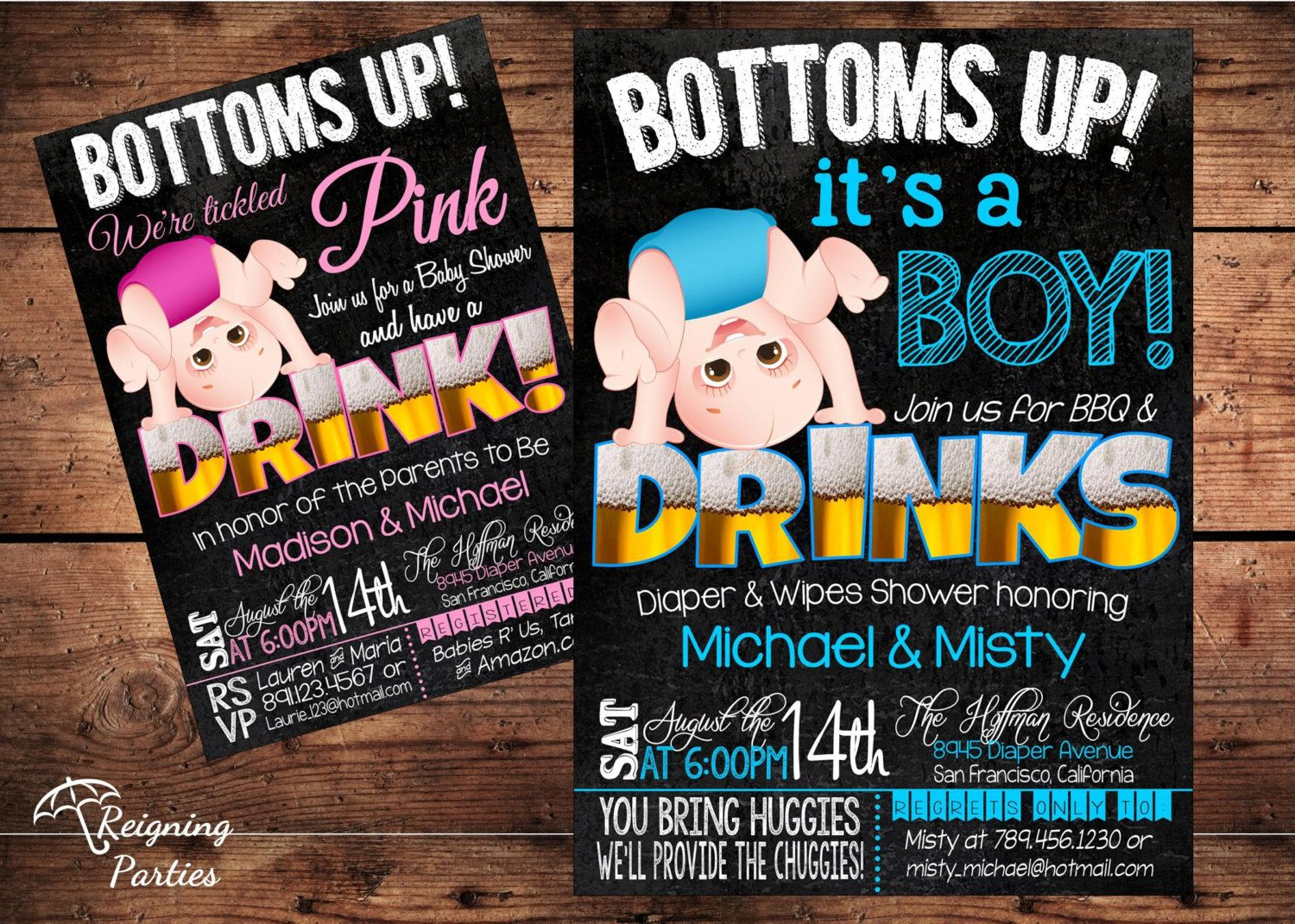 Bottoms Up Baby Shower Invitation Funny Diaper by ReigningParties ...