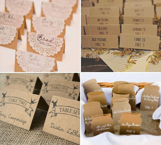 Kraft Paper Place and Escort Card Ideas From left to right