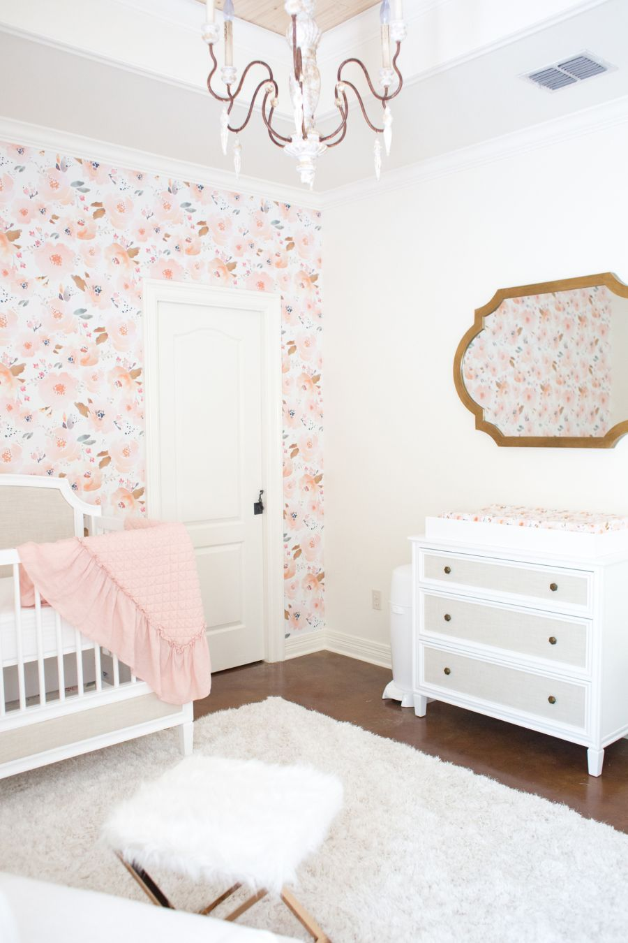 Gold nursery decor Bright blooming nursery
