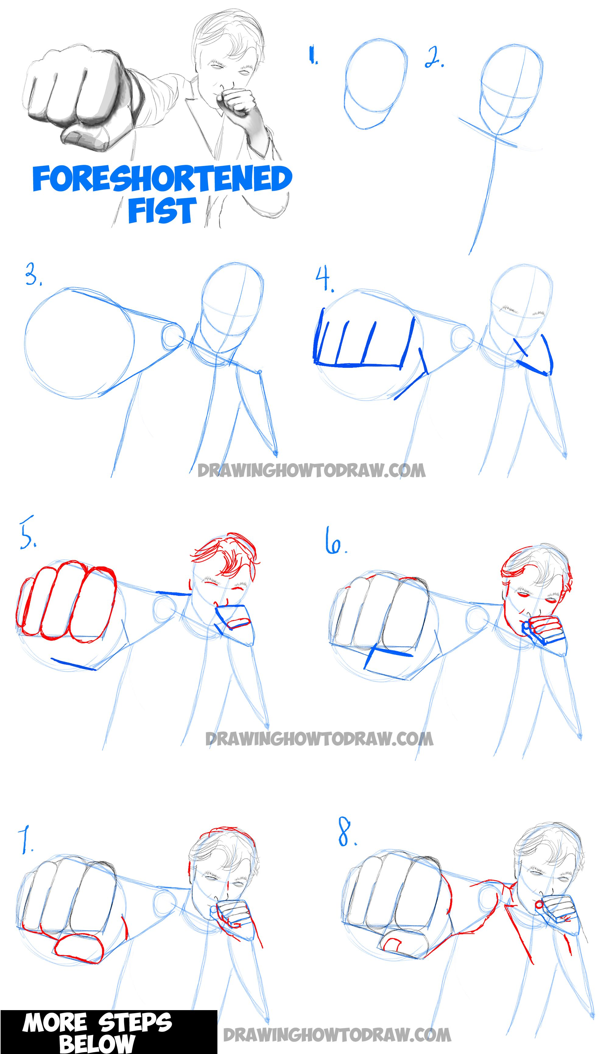 How To Draw Foreshortened Fists Foreshortening Hands How To Draw Step By Step Drawing Tutorials Drawing Tutorial Step By Step Drawing Perspective Drawing Lessons