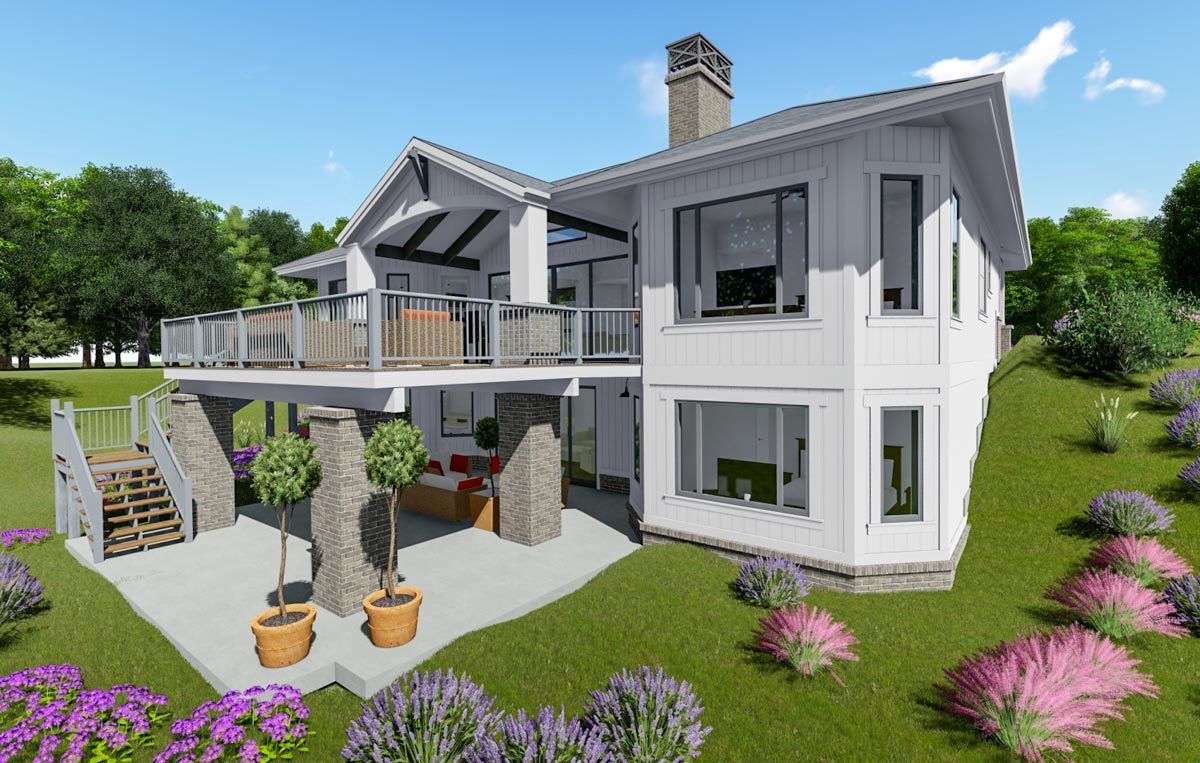 Plan 64468SC Modern Farmhouse Plan with Optional Finished