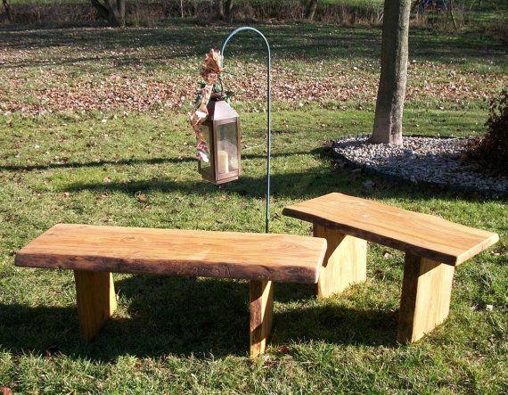 Rustic Garden Bench Wood Outdoor Indoor Live Edge Coffee End
