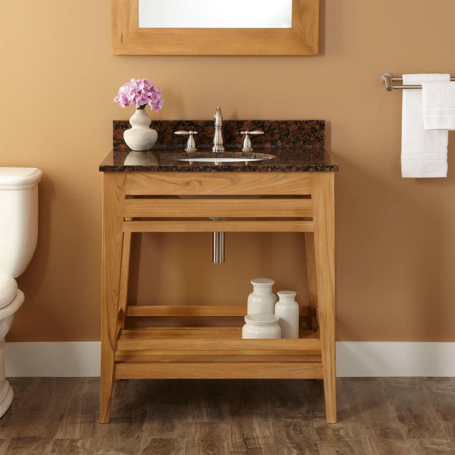 "30"" Aurelia Teak Console Vanity for Undermount Sink - Natural Teak"