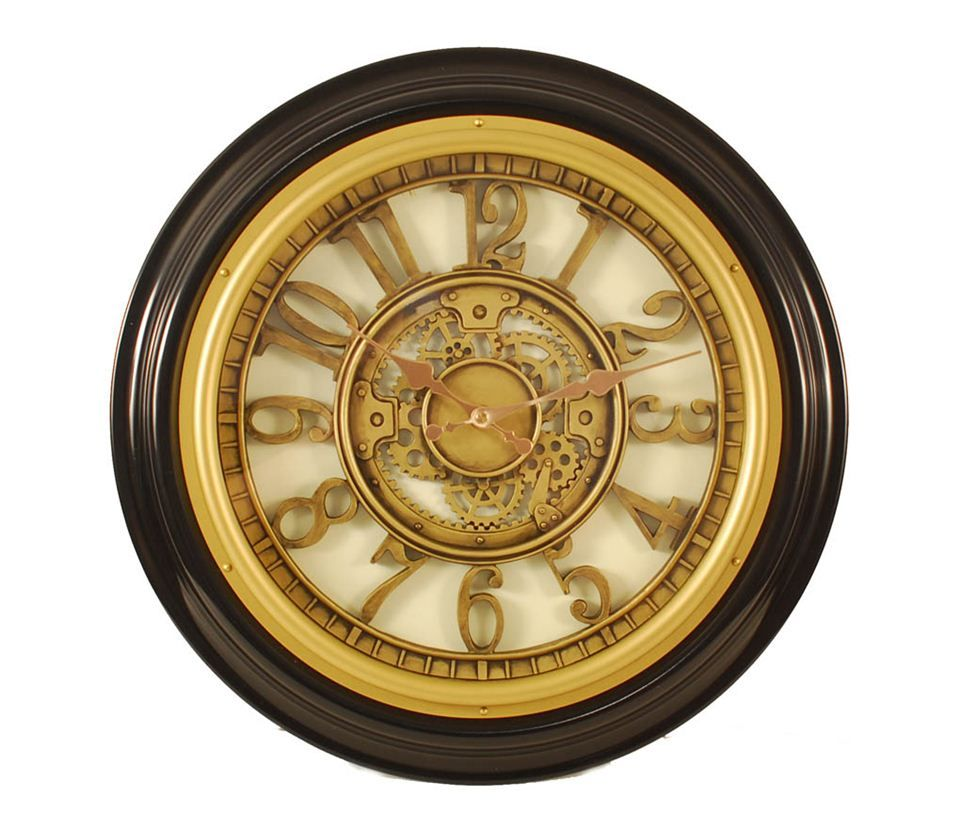 Raised Gold Tone Inner Dial & Case Round Wall Clock w Dark Brown ...