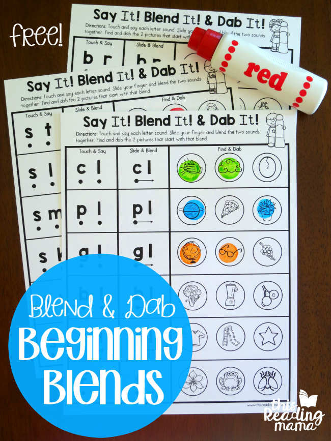 Blend & Dab Beginning Blends Worksheets | Kind und Freebies