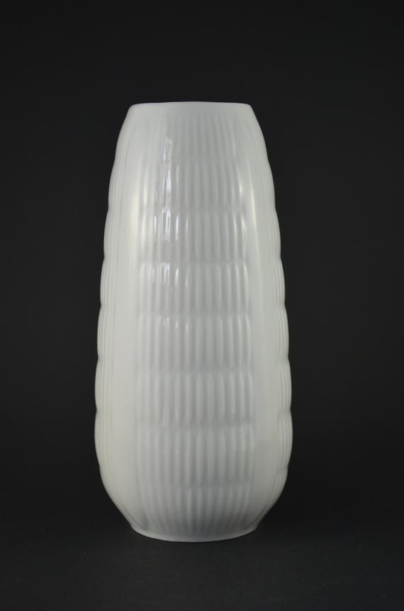 Vintage German Porcelain Vase Op-Art Porcelain Vase Glossy White Vase