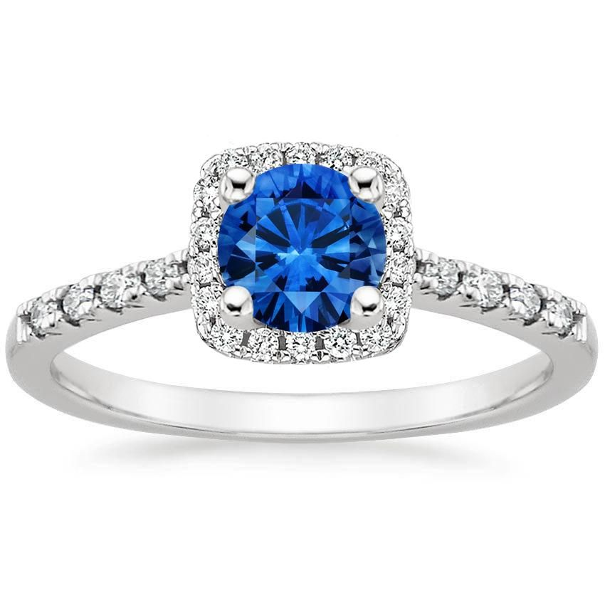 Blue Sapphire Odessa Engagement Ring - 18K White Gold