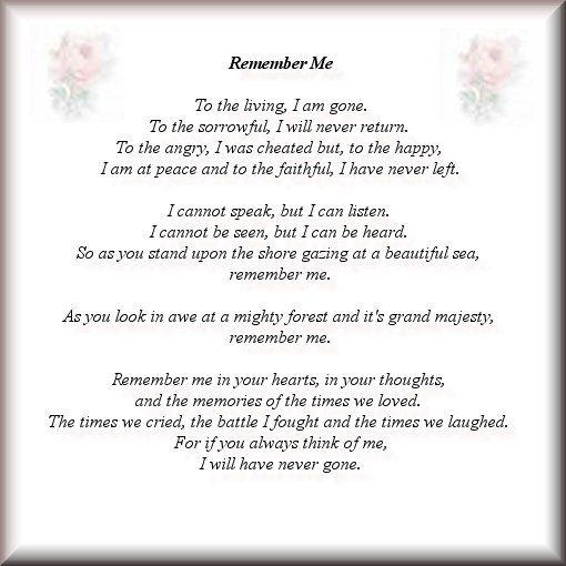 Remember Me Poem In My Grandpas Obituary Obituaries Ideas