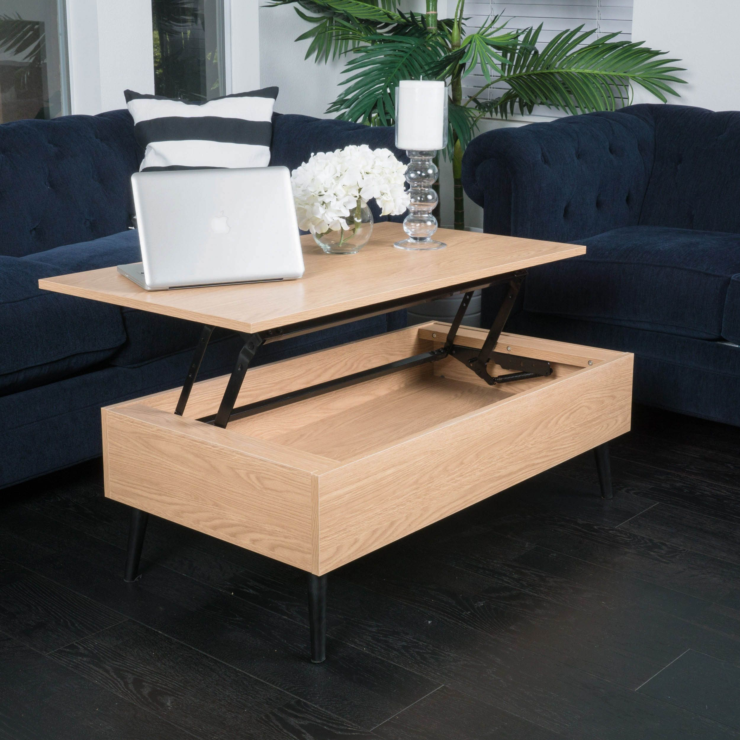 The Elliot lift top storage coffee table provides a unique way to