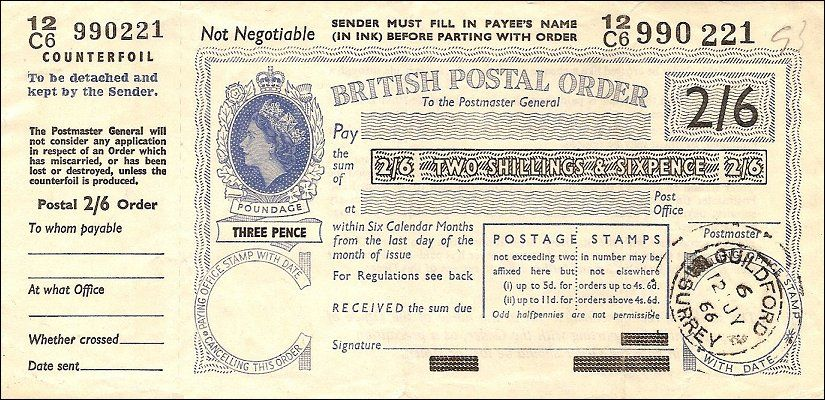 Postal Orders A Twoand Six Postal Order Would Probably Have Cost