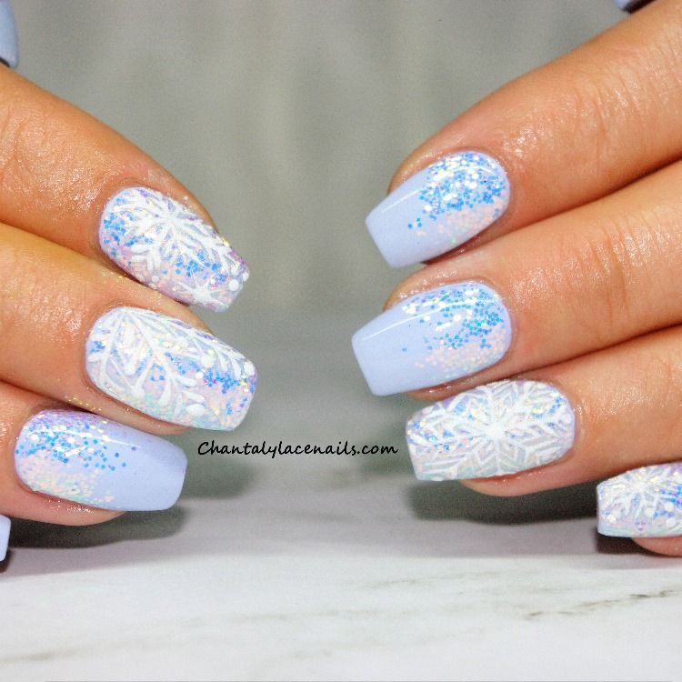 frosty blue nails, sugared snowflakes, blue glitter nails
