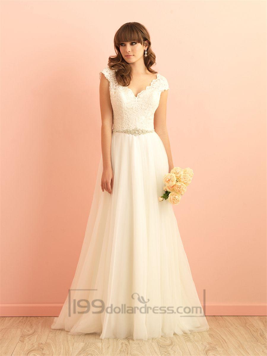 Wedding dress lace sleeves  Cap Sleeves V neckline Aline Lace Wedding Dress with Deep Vback