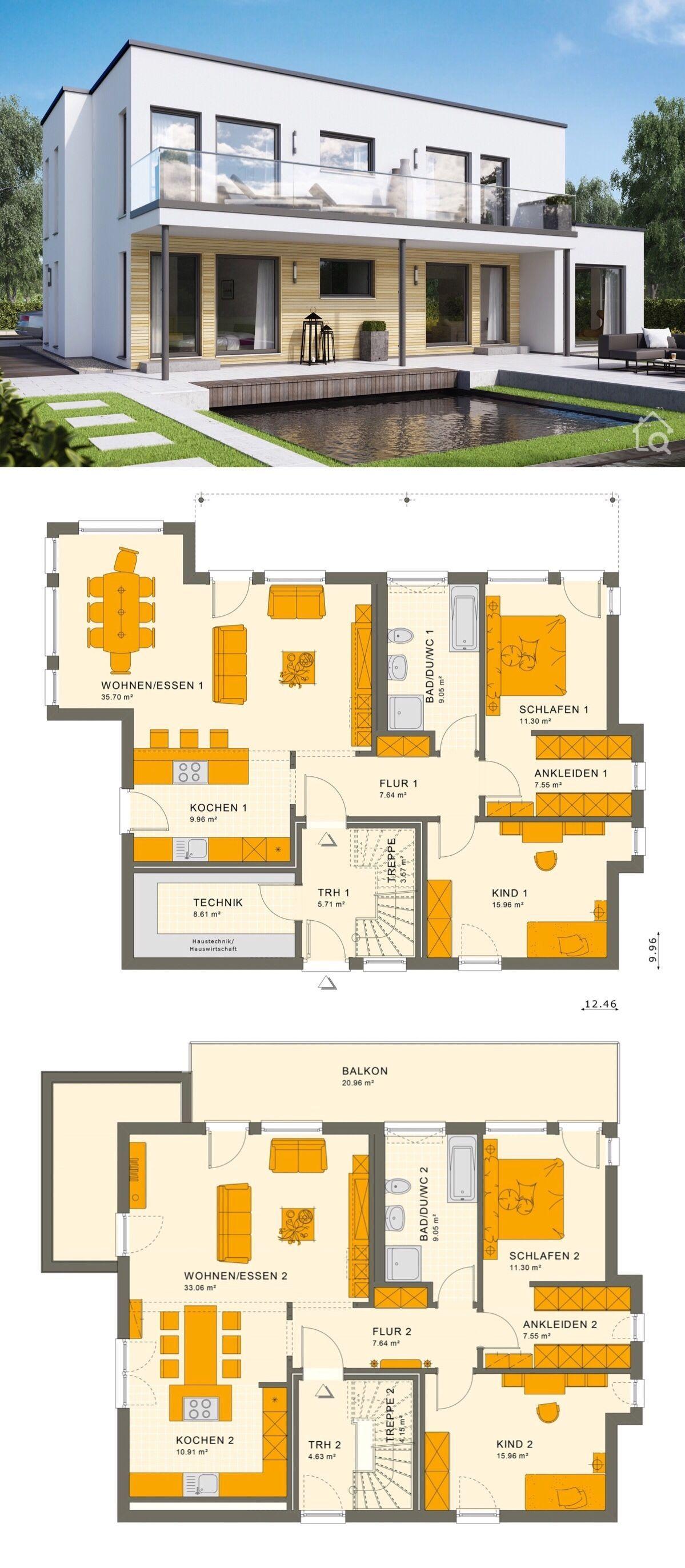 Zweifamilienhaus SOLUTION 204 V8 mit Flachdach