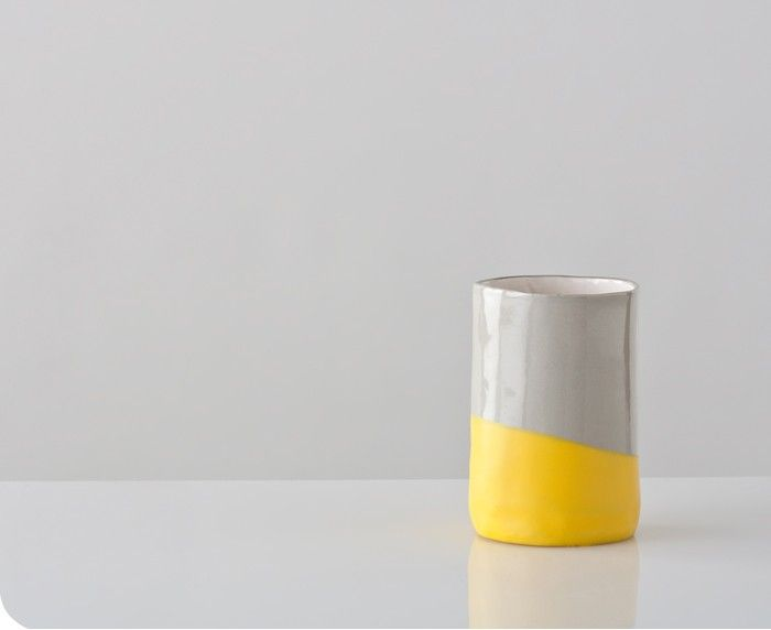 Yellow and Gray Dip Cup by up in the air somewhere