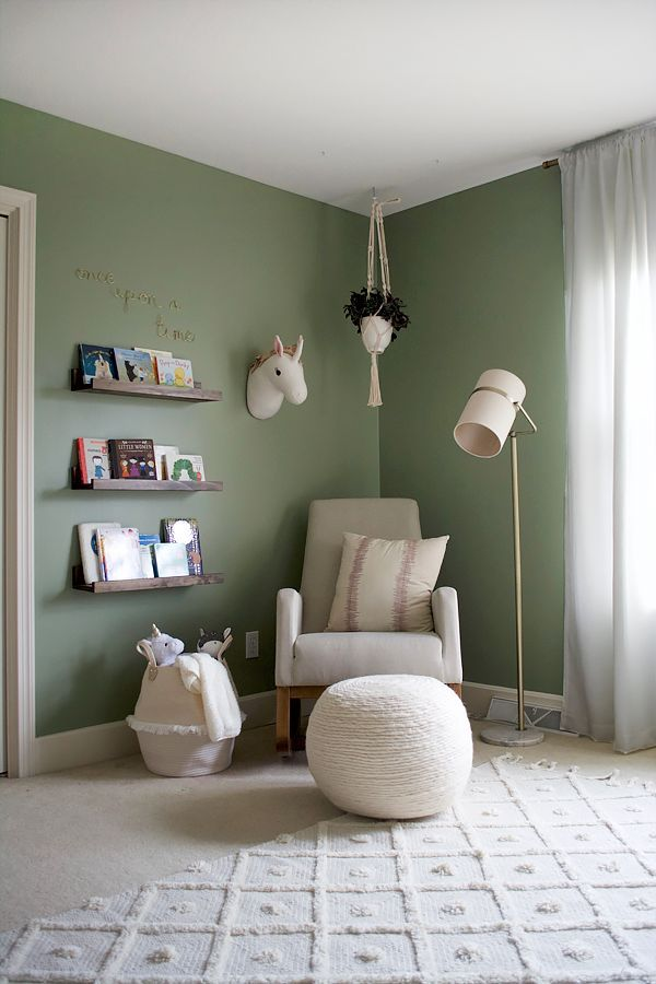 Green, Pink and Floral Girl's Nursery Reveal   Green baby ...