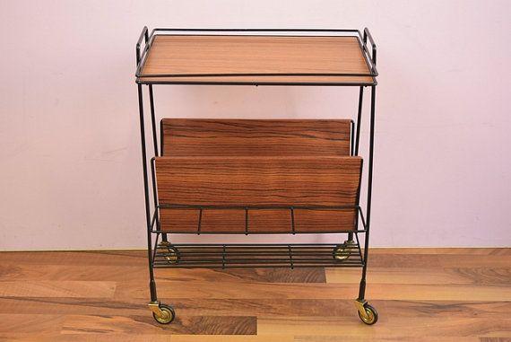 Vintage Bar Cart Tea Cart Serving Cart Magazine Cart Magazine Rack West Germany 60s Servierwagen Teewagen Barwagen