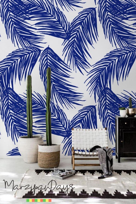 Navy Palm Leaf Wallpaper Tropical Leaf Wall Decor Palm Art Etsy In 2021 Palm Leaf Wallpaper Leaf Wallpaper Tropical Wallpaper