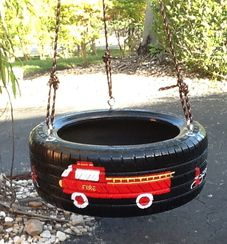 Tire Swing Fire Truck / Fire Engine for all the budding firemen from www.cooltireswings.com