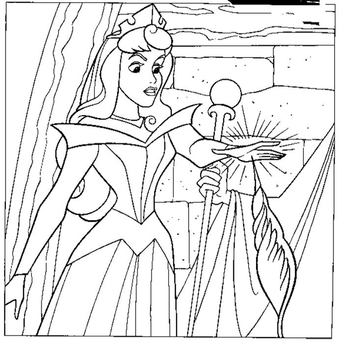 Sleeping Beauty Pricking Finger Coloring Pages Printable